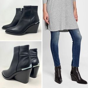 NIB Rag & Bone Santiago Black Leather Ankle Boots